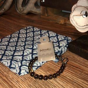Smoky Quartz color glass bead bracelet from India